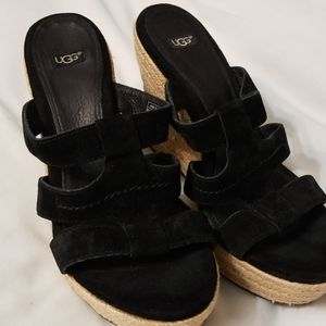 Like New UGG Black Suede Wedge Sandals Size 8